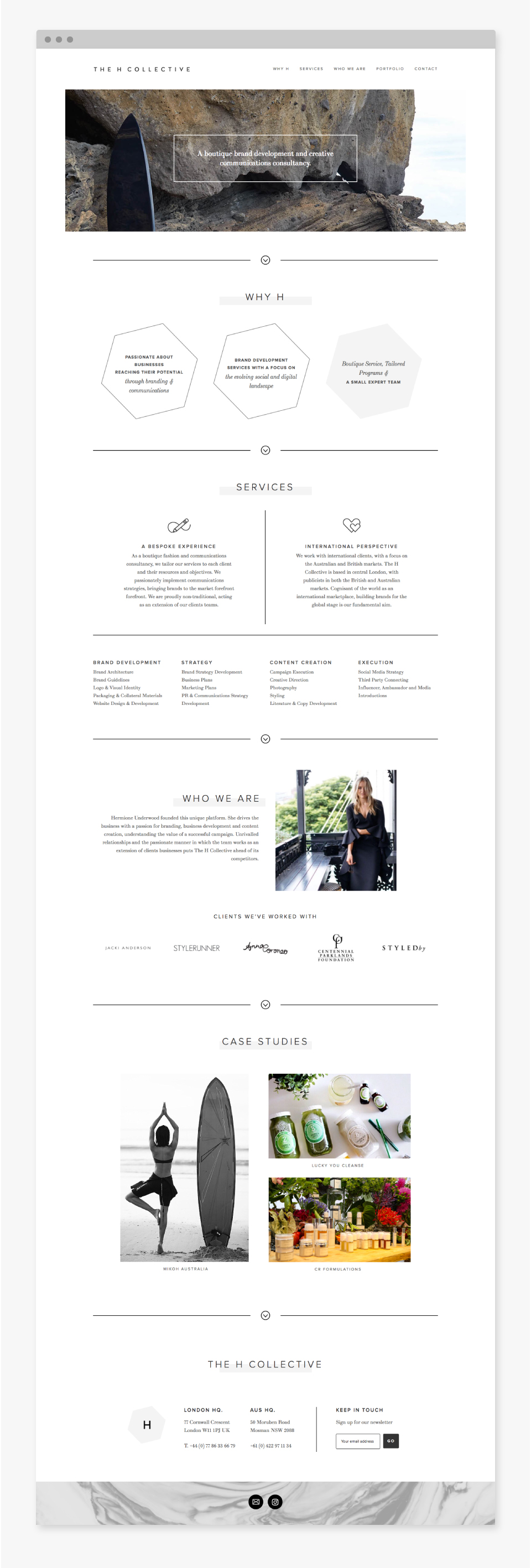The H Collective Website Design - Idyllic Creative